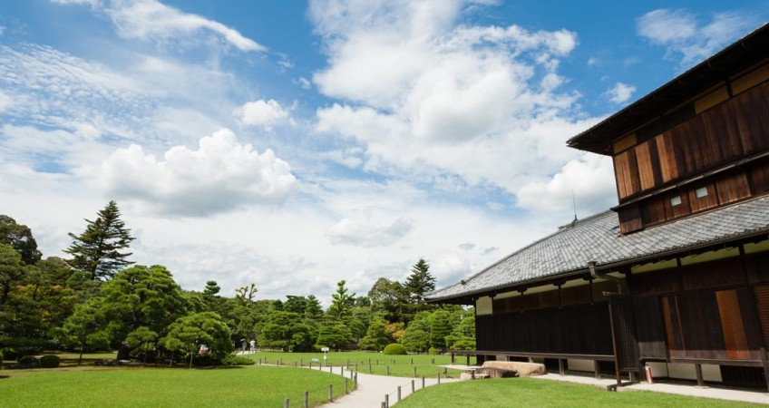 KYOTO, JAPAN - SEPTEMBER 9, 2012: Garden of Niji castle in Kyoto
